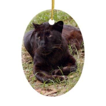 Christmas Themed Black Leopard Christmas Ornament