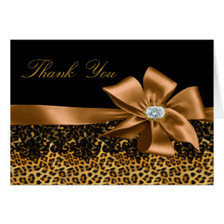 Black Leopard & Gold Bow Thank You Card