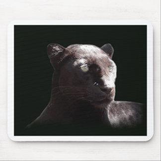 Black Leopard Portrait Mouse Pad