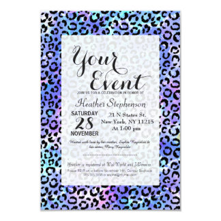Black Leopard Print on Blue Watercolor Background Card