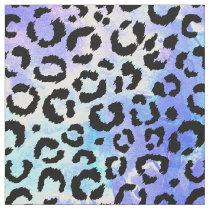 Black Leopard Print on Blue Watercolor Background Fabric