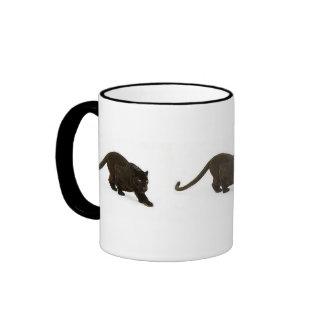 Black Leopard stalking, Black Leopard stalking,... Ringer Mug