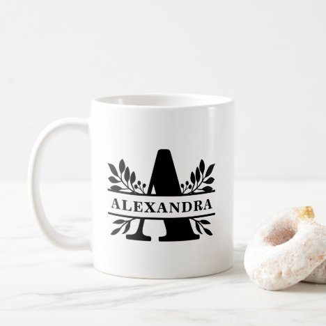 Black Letter A Foliage Split Monogram Coffee Mug