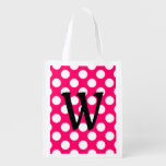 Black Letter Monogram On Polka Dots Reusable Grocery Bag at Zazzle