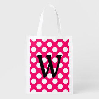 Black Letter Monogram on Polka Dots Reusable Grocery Bag