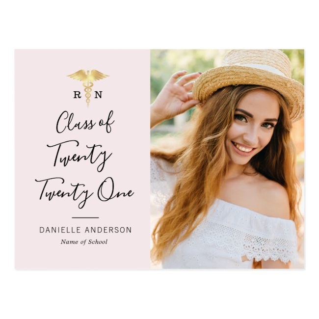 black lettering nursing graduation announcement  postcard