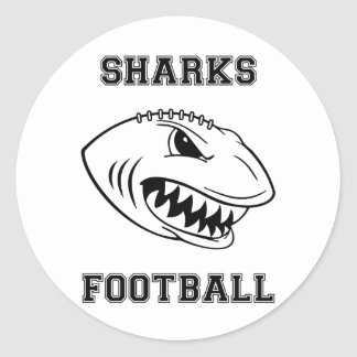 black letters sharks round stickers