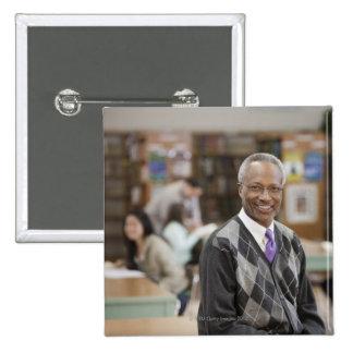Black librarian in school library 2 inch square button