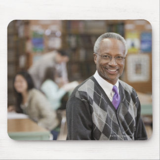 Black librarian in school library mouse pad