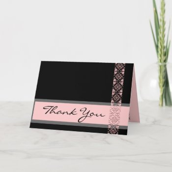 BLACK LICORICE & PINK Lace Bridal Shower Thank You zazzle_card