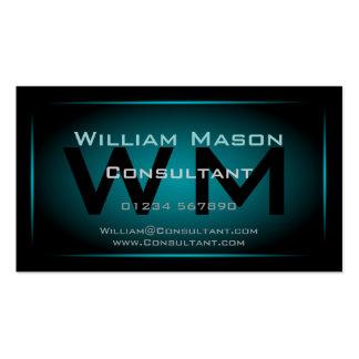 Black Light Blue Framed Monogram - Business Card