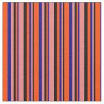 [ Thumbnail: Black, Light Coral, Dark Blue & Red Stripes Fabric ]
