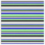 [ Thumbnail: Black, Light Cyan, Blue & Light Green Lines Fabric ]
