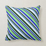[ Thumbnail: Black, Light Cyan, Blue & Light Green Lines Pillow ]