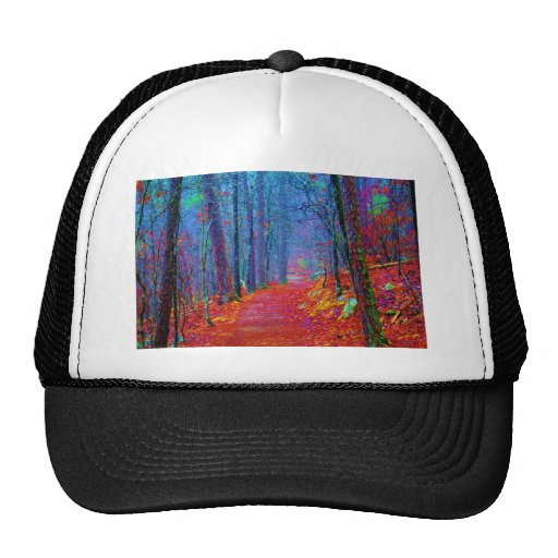 Black Light Forest Oil Painting Mesh Hat