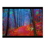 Black Light Forest Oil Painting Postcard