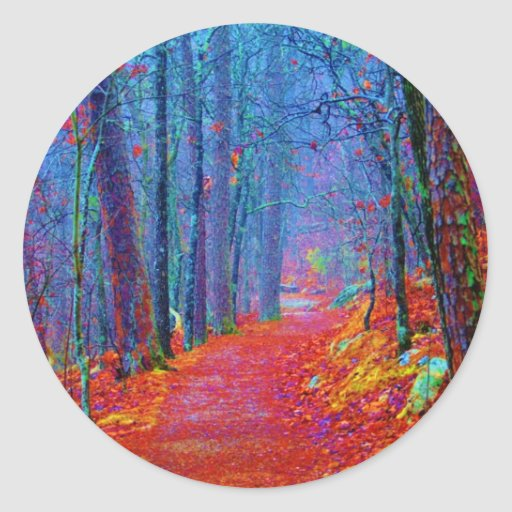 Black Light Forest Oil Painting Classic Round Sticker