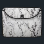 """Black Light Gray And White Marble Stone Pattern MacBook Pro Sleeve<br><div class=""""desc"""">Beautiful light gray,  white and black marble stone pattern. Customizable MacBook pro template</div>"""