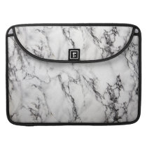 Black Light Gray And White Marble Stone Pattern MacBook Pro Sleeve