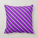 [ Thumbnail: Black, Light Green, Mint Cream & Dark Violet Throw Pillow ]