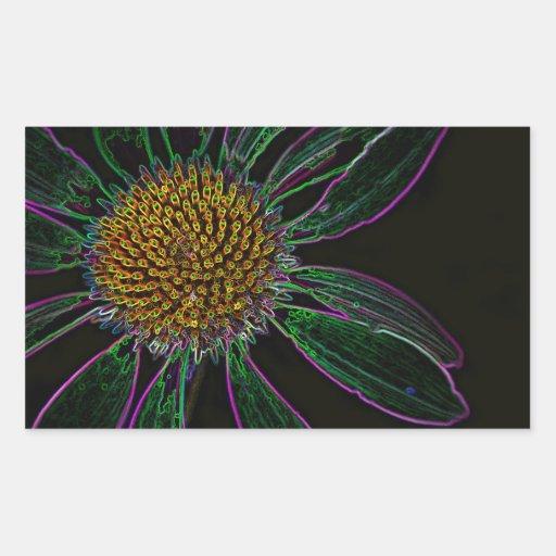 Black Light Neon Flower Power Rectangular Sticker
