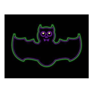 Halloween Themed Black Light Neon Halloween Bat Postcard