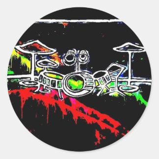 Black Light/Neon Splash Drum Set by Levi G. Classic Round Sticker