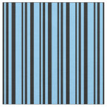 [ Thumbnail: Black & Light Sky Blue Colored Pattern Fabric ]
