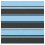 [ Thumbnail: Black & Light Sky Blue Colored Stripes Fabric ]
