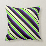 [ Thumbnail: Black, Light Yellow, Chartreuse, Green, and Indigo Throw Pillow ]