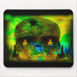 Black Lighted Gothic Skull Mouse Pads