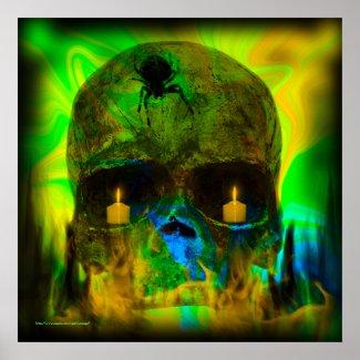 Black Lighted Gothic Skull Print print