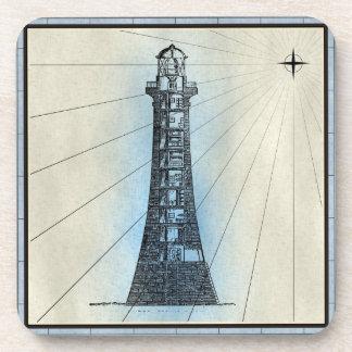 Black Lighthouse Marine Print with Blue Frame Coaster