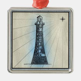Black Lighthouse Marine Print with Blue Frame Metal Ornament