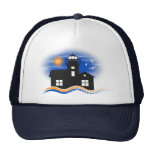Black Lighthouse Seascape Silhouette Trucker Hat