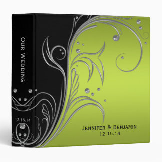 Black Lime and Silver Floral Scrolls Photo Album 3 Ring Binders