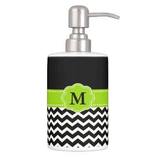Black Lime Green Chevron Monogram Bath Set