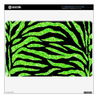 """Black &Lime Green Glitter Zebra Print Mac Air Skin 11"""" MacBook Air Skins"""