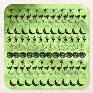 Halloween Themed Black/Lime Green Halloween Fun Font Art Pattern Square Paper Coaster