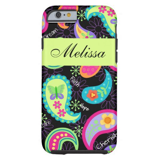 Black Lime Green Modern Paisley Name Personalized Tough iPhone 6 Case