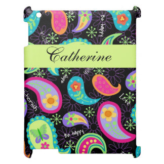 Black Lime Green Modern Paisley Personalized Case For The iPad 2 3 4