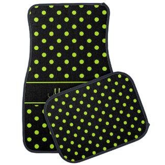 Black Lime Green Polka Dot Pattern Personalized Floor Mat