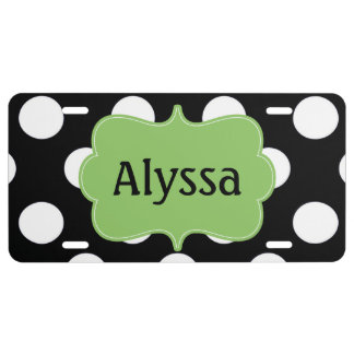 Black Lime Green Polka Dots Personalized License Plate