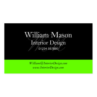 Black Lime Green Professional Business Card