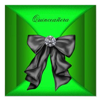Black Lime Green Qiunceanera Custom Announcement