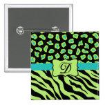 Black, Lime Green & Turquoise Zebra & Cheetah Skin 2 Inch Square Button