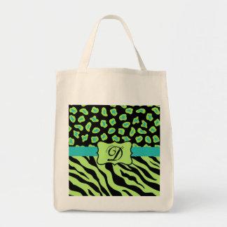 Black, Lime Green & Turquoise Zebra & Cheetah Skin Bags