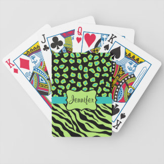 Black, Lime Green & Turquoise Zebra & Cheetah Skin Bicycle Playing Cards