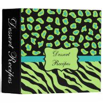 Black, Lime Green & Turquoise Zebra & Cheetah Skin Binder