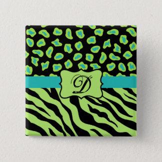 Black, Lime Green & Turquoise Zebra & Cheetah Skin Button